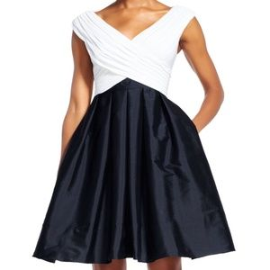 Adrianna Papell Draped Fit & Flare w/ Full Skirt